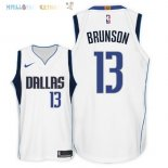 Maillot NBA Dallas Mavericks NO.13 Jalen Brunson Blanc Association 2018 Pas Cher