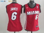 Maillot NBA Femme Miami Heat NO.6 LeBron James Rouge Blanc Pas Cher