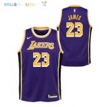Maillot NBA Enfant Los Angeles Lakers NO.23 Lebron James Pourpre Statement 2018-2019 Pas Cher