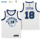 Maillot NBA Enfant Golden State Warriors NO.18 Omri Casspi Nike Retro Blanc Pas Cher