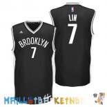 Maillot NBA Brooklyn Nets NO.7 Jeremy Lin Noir Pas Cher