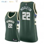 Maillot NBA Femme Milwaukee Bucks NO.22 Khris Middleton Vert Icon 2018 Pas Cher