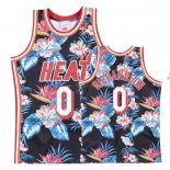 Maillot NBA Miami Heat NO.0 Josh Richardson Rouge floral Pas Cher
