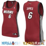 Maillot NBA Femme Miami Heat NO.6 LeBron James Rouge Pas Cher