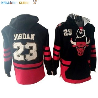 Hoodies NBA Chicago Bulls NO.23 Jordan Noir Rouge Pas Cher