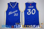 Maillot NBA Enfants 2015 Noël Golden State Warriors NO.30 Stephen Curry Bleu Pas Cher