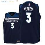 Maillot NBA Enfant Minnesota Timberwolves NO.3 Jared Terrell Marine Icon 2018 Pas Cher