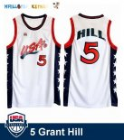 Maillot NBA 1996 USA Grant Hill NO.5 Blanc Pas Cher