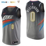 Maillot NBA Oklahoma City Thunder NO.0 Russell Westbrook Nike Gris Ville 2017-2018 Pas Cher