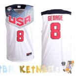 Maillot NBA 2014 USA George NO.8 Blanc Pas Cher