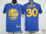 Maillot NBA Golden State Warriors Manche Courte NO.30 Stephen Curry Bleu Pas Cher