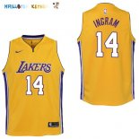 Maillot NBA Enfant Los Angeles Lakers NO.14 Brandon Ingram Jaune Icon Pas Cher