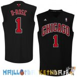 Maillot NBA Chicago Bulls NO.1 Derrick Rose Noir Rouge Pas Cher