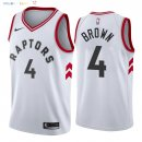 Maillot NBA Toronto Raptors NO.4 Lorenzo Brown Blanc Association 2018 Pas Cher