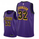 Maillot NBA Los Angeles Lakers NO.32 Magic Johnson Pourpre Ciudad 2018-2019 Pas Cher