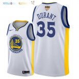 Maillot NBA Golden State Warriors 2018 Finales Champions NO.35 Kevin Durant Blanc Pas Cher
