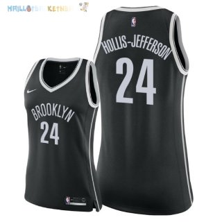 Maillot NBA Femme Brooklyn Nets NO.24 Rondae Hollis Jefferson Noir Icon 2018 Pas Cher