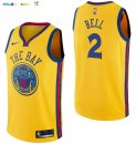 Maillot NBA Golden State Warriors NO.2 Jordan Bell Nike Jaune Ville 2017-2018 Pas Cher