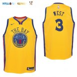 Maillot NBA Enfant Golden State Warriors NO.3 David West Nike Jaune Ville Pas Cher