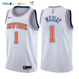 Maillot NBA New York Knicks NO.1 Emmanuel Mudiay Blanc Statement 2017-2018 Pas Cher