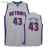 Maillot NBA Enfant Detroit Pistons NO.43 Anthony Tolliver Gris Statement 2017-2018 Pas Cher