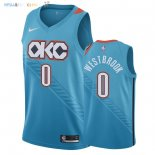 Maillot NBA Oklahoma City Thunder NO.0 Russell Westbrook Nike Turquoise Ville 2018-2019 Pas Cher