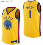 Maillot NBA Golden State Warriors NO.1 JaVale McGee Nike Jaune Ville 2017-2018 Pas Cher