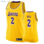 Maillot NBA Femme Los Angeles Lakers NO.2 Lonzo Ball Jaune Icon 2018-19 Pas Cher