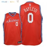 Maillot NBA Enfant Philadelphia Sixers NO.0 Jerryd Bayless Rouge Statement 2018 Pas Cher