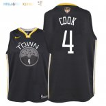 Maillot NBA Enfant Golden State Warriors Finales Champions 2018 NO.4 Quinn Cook Noir Statement Patch Pas Cher