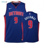 Maillot NBA Enfant Detroit Pistons NO.9 Langston Galloway Bleu Icon 2017-2018 Pas Cher