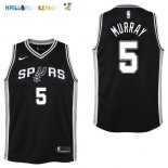 Maillot NBA Enfant San Antonio Spurs NO.5 Dejounte Murray Noir Icon Pas Cher