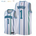 Maillot NBA Charlotte Hornets NO.1 Tyrone Bogues Retro Blanc 2018 Pas Cher