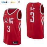 Maillot NBA Houston Rockets NO.3 Chris Paul Nike Rouge Ville 2017-2018 Pas Cher
