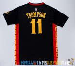 Maillot NBA Golden State Warriors Manche Courte NO.11 Klay Thompson Noir Rouge Pas Cher
