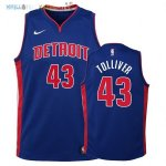 Maillot NBA Enfant Detroit Pistons NO.43 Anthony Tolliver Bleu Icon 2017-2018 Pas Cher