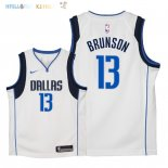 Maillot NBA Enfant Dallas Mavericks NO.13 Jalen Brunson Blanc Association 2018 Pas Cher