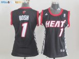 Maillot NBA Femme Miami Heat NO.1 Chris Bosh Noir Pas Cher