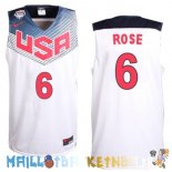 Maillot NBA 2014 USA Rose NO.6 Blanc Pas Cher