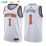 Maillot NBA New York Knicks NO.1 Ramon Sessions Blanc Association 2017-2018 Pas Cher