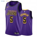 Maillot NBA Los Angeles Lakers NO.5 Tyson Chandler Nike Pourpre Ville 2018-2019 Pas Cher