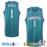 Maillot NBA Charlotte Hornets NO.1 Tyrone Curtis Bogues Vert Pas Cher