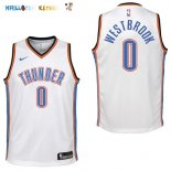 Maillot NBA Enfant Oklahoma City Thunder NO.0 Russell Westbrook Blanc Association Pas Cher