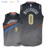 Maillot NBA Enfant Oklahoma City Thunder NO.0 Russell Westbrook Nike Gris Ville 2018 Pas Cher