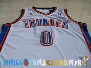 Maillot NBA Oklahoma City Thunder NO.0 Russell Westbrook Blanc Pas Cher