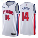 Maillot NBA Detroit Pistons NO.14 Ish Smith Blanc Association 2018 Pas Cher