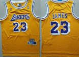 Maillot NBA Los AngelesLakers NO.23 Lebron James Retro Jaune Pas Cher