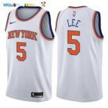 Maillot NBA New York Knicks NO.5 Courtney Lee Blanc Association 2017-2018 Pas Cher