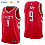 Maillot NBA Houston Rockets NO.9 Zhou Qi Rouge Icon 2017-2018 Pas Cher