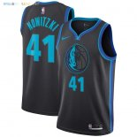 Maillot NBA Enfant Dallas Mavericks NO.41 Dirk Nowitzki Nike Anthracite Ville 2018-19 Pas Cher